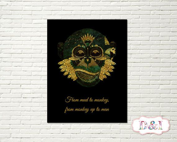 From mud to monkey, from monkey up to man - Gold glitter  Wall Art Print ~ Instant download, JPG PDF Printable