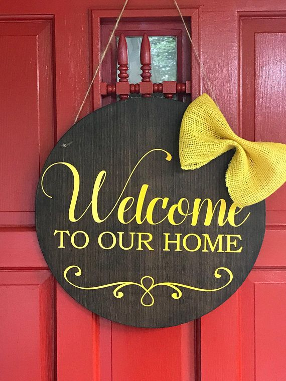 Welcome To Our Home Front Door Wreath Alternative Round
