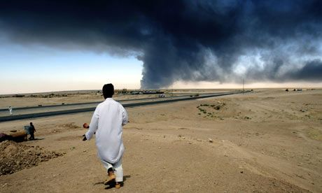 Iraq war stories: A huge cloud of smoke rises up from a blaze on Iraq's oil export pipeline.