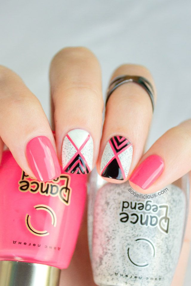 Geometric Nail Art With Textured Nail Polish – Tutorial (love your nails, pink, black, white and glitter nail art designs)