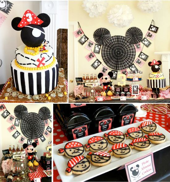 Mickey Mouse Pirate Themed Birthday Party via Karas Party Ideas KarasPartyIdeas.com #mickey #mouse #vintage #pirate #birthday #party #cake #decor #supplies