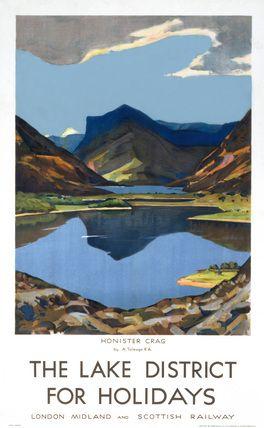 The Lake district, Cumbria, vintage railway poster.