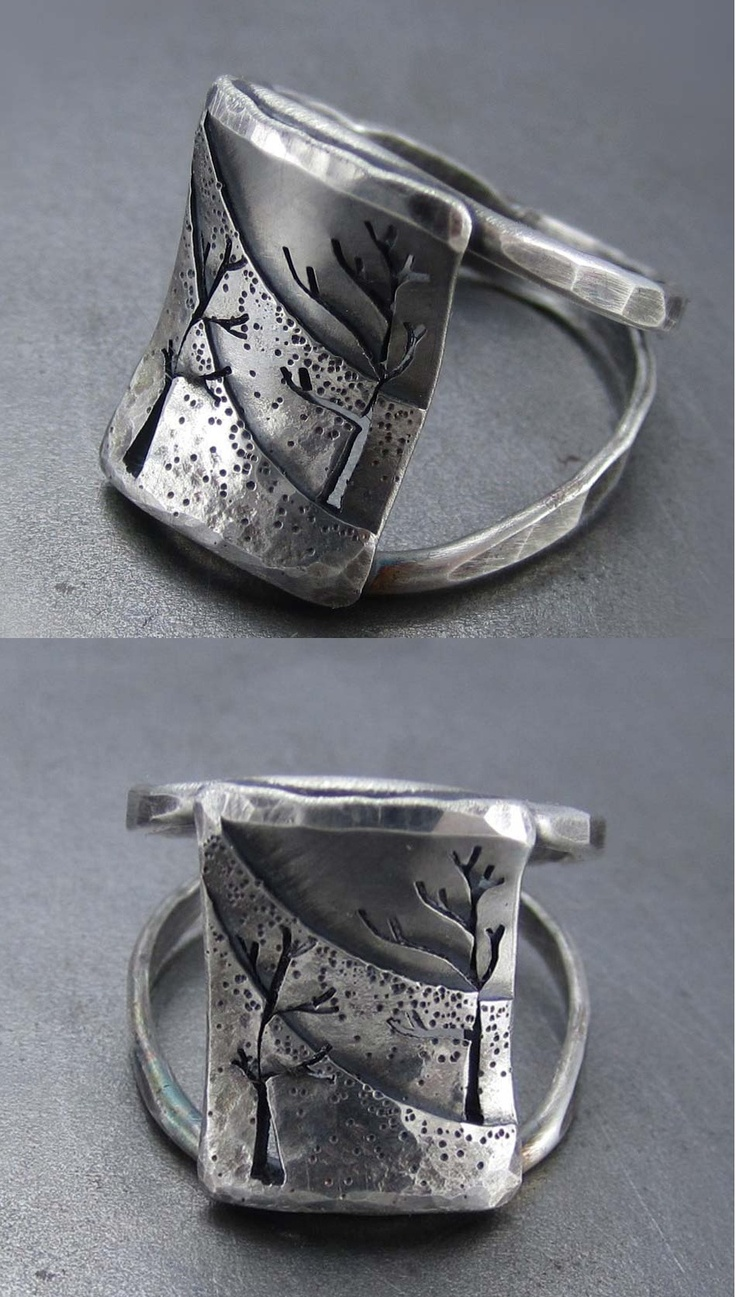 Ring | Beth Millner.  'Northern Slope'.  Sterling silver and patina.