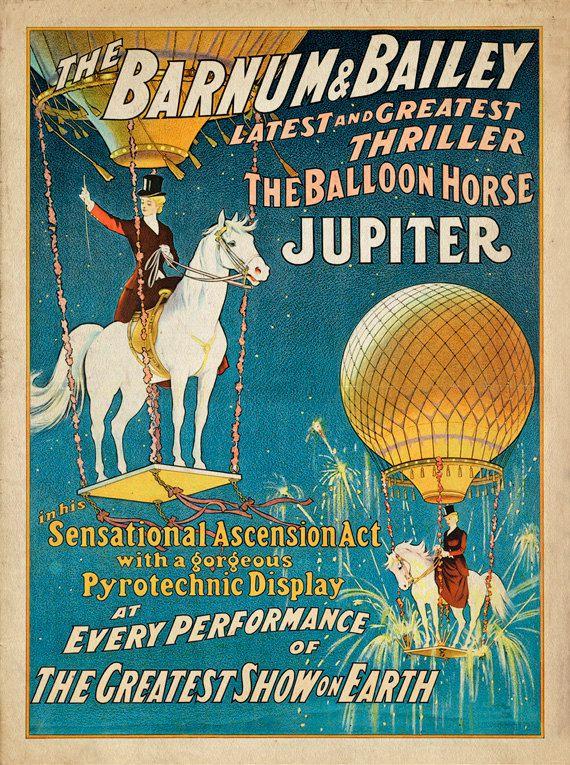 "Antique Circus Poster ""Jupiter the Balloon Horse"" Vintage Americana Carnival Print - Victorian Steampunk Art - Hot Air Balloon - Horse Art on Etsy, $30.00"