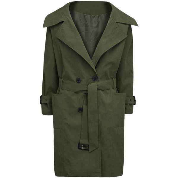 Army Green Double Breasted Belt Waist Split Back Trench Coat ($50) ❤ liked on Polyvore featuring outerwear, coats, double-breasted trench coat, olive green trench coat, green military coat, green coat and trench coat