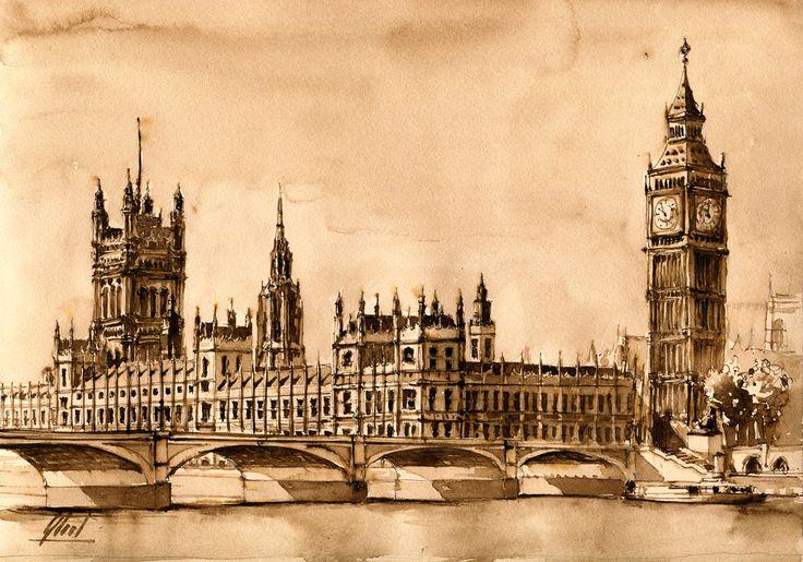 London, UK Watercolor - 21cm x 30cm Jaroslaw Glod - http://www.artende.pl   @London @watercolor @BigBen