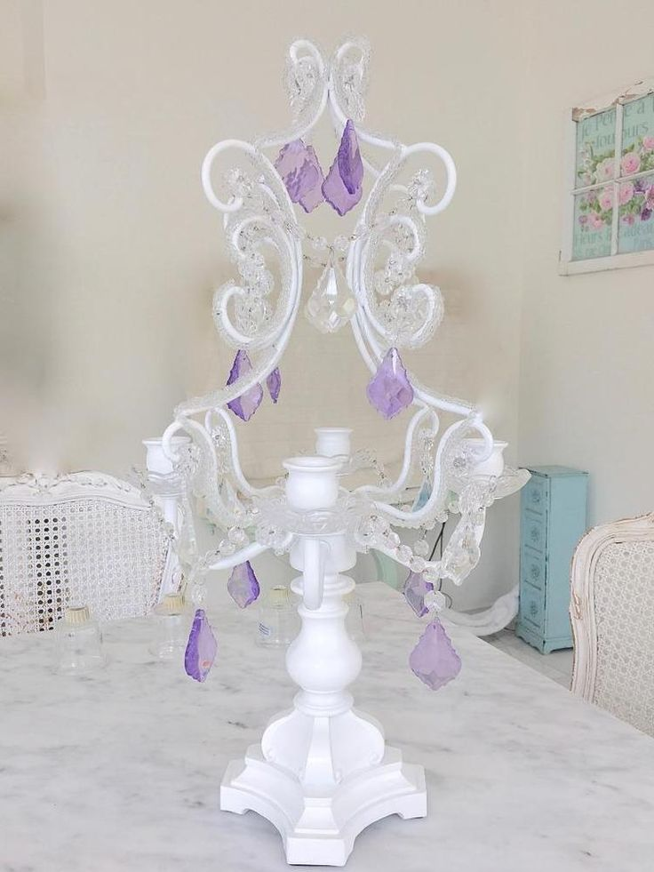4 Arm Lavender Candle Holder White Candelabra Display Stand Wedding Christmas Nw