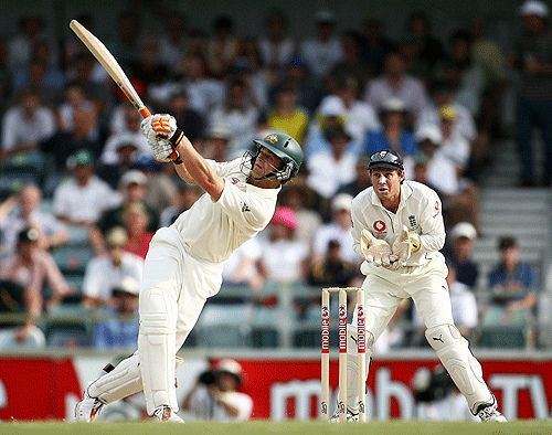Adam Gilchrist playing a rare defensive shot