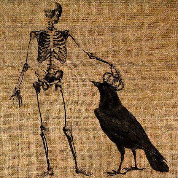 digital download burlap digital collage sheet halloween skeleton crown crow raven fabic transfer iron on pillows - Halloween Crows