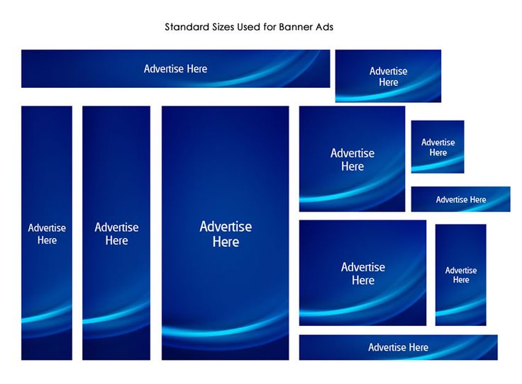 Showcasing the different dimensions for banner ads.