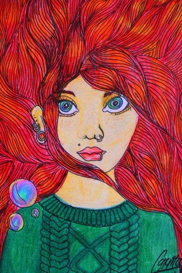 Dibujo Ensu, mujer pelirroja