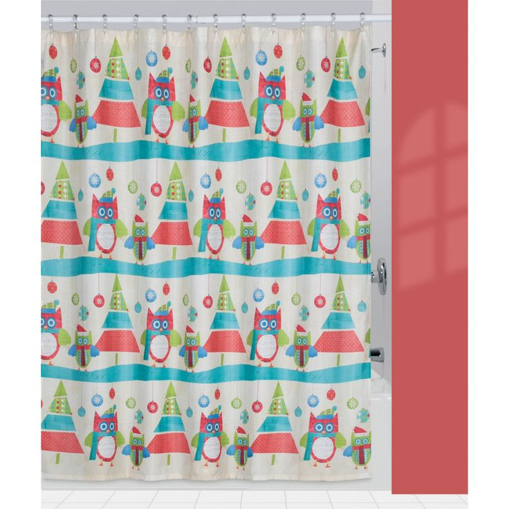 Creative Bath Christmas Owls & Trees Fabric Shower Curtain - S1212MULTI