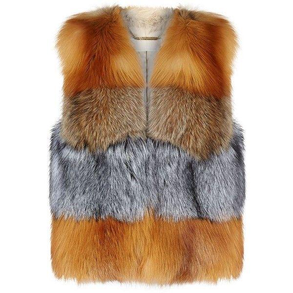MICHAEL Michael Kors Mixed Fur Gilet ($2,705) ❤ liked on Polyvore featuring outerwear, vests, fox fur gilet, fur gilet, color block vest, brown fur vest and fox vest