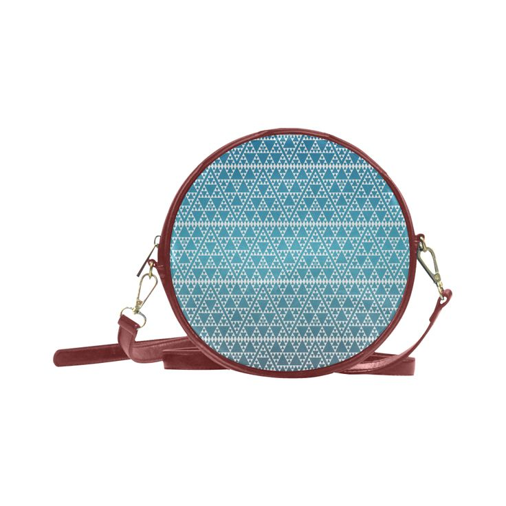 triangles in triangles pattern wht electric blue Round Sling Bag (Model 1647)