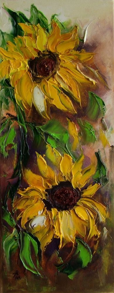 Sunflowers Impression Palette knife Original Oil Painting IMPASTO Europe Artist #ImpressionismImpasto