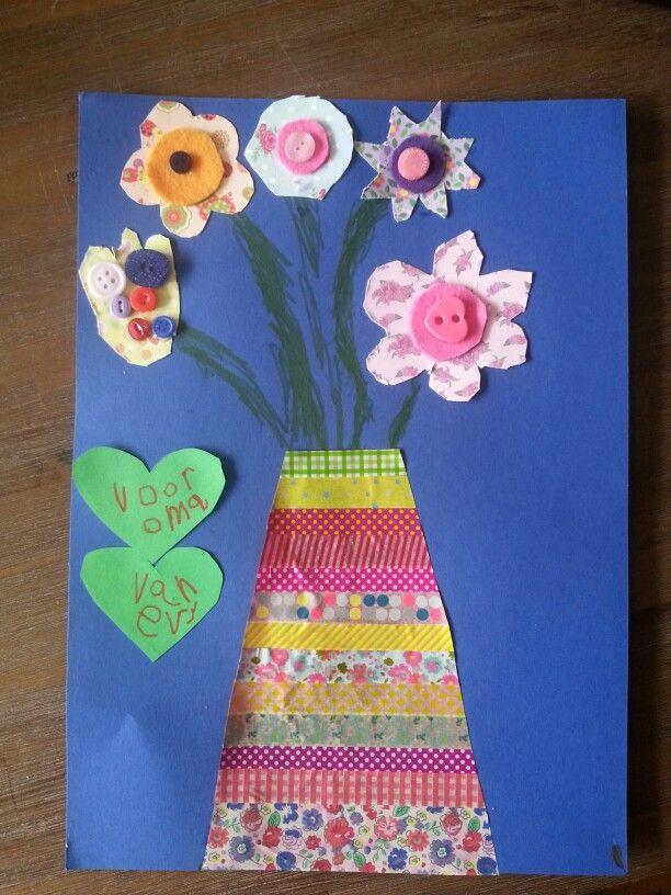 Bosje #bloemen voor #oma #tape #knippen #knopen #knutselen