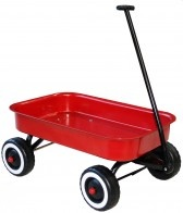 Don't be fooled by the simplicity of this red metal wagon. Little ones love enlisting it for everything from pulling siblings along, to carting books, toys and even sand. Its functions are only limited by imaginations!