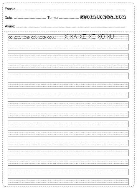 Atividades de caligrafia: x, xa, xe, xi, xo, xu