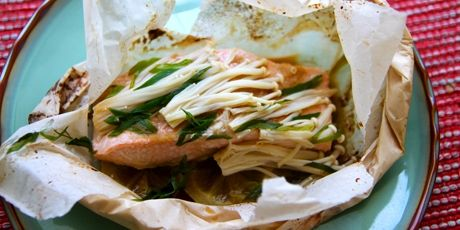 Salmon in Parchment with Ginger, Soy and Enoki Mushrooms Recipe