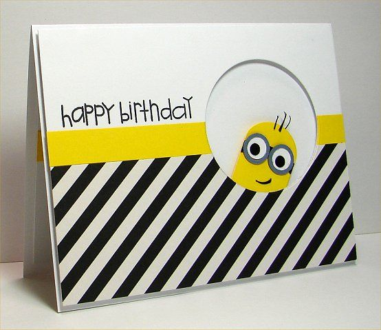 hand crafted card: WT528 minion birthday by donidoodle ... bold black and white diagonal stripes ... punch art Minion and stripe of chromium yellow ...