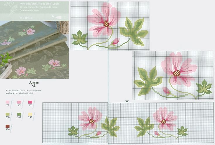Pink flower free cross stitch pattern