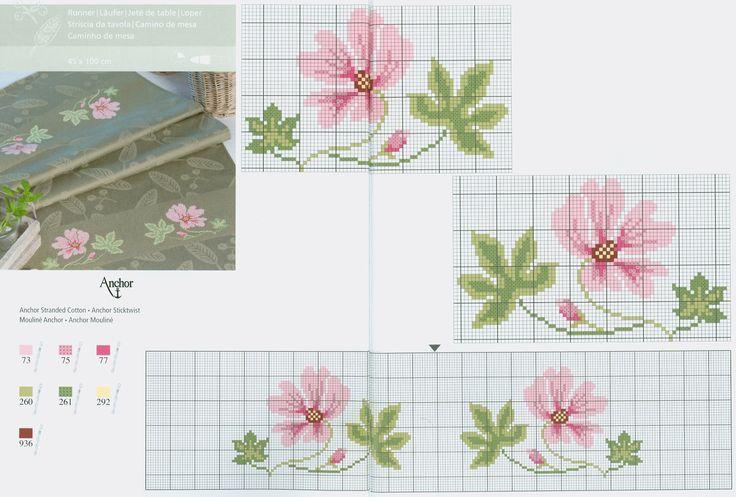 Pink flower free cross stitch pattern