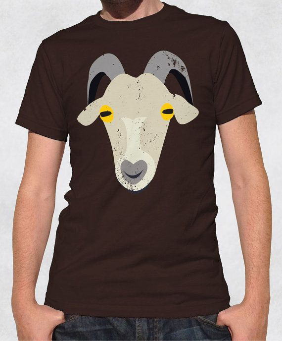 Men's Tee - Guys' Old Goat Shirt - Cute Funny Farm Animal Face Graphic Design Tshirt - Size XS-S-M-L-XL-2XL-3XL by NiceButton