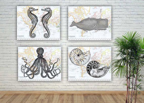 Art de vie de marin mer, impressions de créatures de mer, seafan pépinière, créer votre affichage, décoration de salle de bains, oursin de baleine poulpe nautilus hippocampe