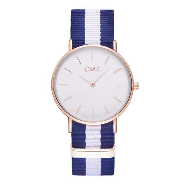 2017 Brand Clock Woven strap sports watches Metal button women's watch Casual Couple Various styles 18 color Quartz Wristwatches