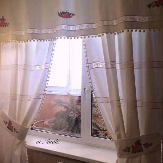 Текстиль, ковры ручной работы. Винтажные льняные шторы с вышивкой