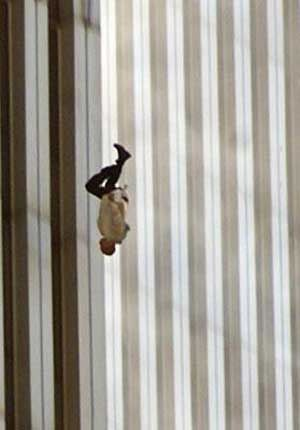 I found that this picture was a very interesting picture. It shows a man who jumped off one of the Twin Towers because the building was falling down and he decided to kill himself in this manner.