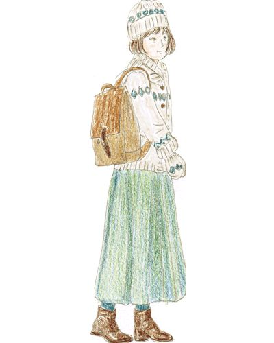 ナチュラルな雰囲気の帆布リュックにはノルディック柄のカウチンとロングスカートを合わせてほっこり森ガール風スタイルに。。