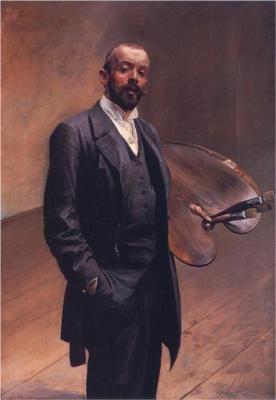 Jacek Malczewski-Self-portrait with a palette-Born: 15 July 1854; Radom, Poland-Died: 08 October 1929; Kraków, Poland. Polish painter - Movement: Symbolism, Art Nouveau