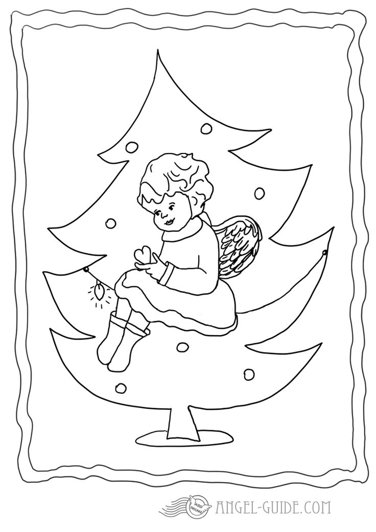 21 Best Christmas Angels Images On Pinterest Angel German Tree Coloring Page
