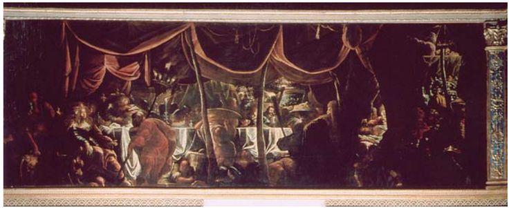 """Pietro Mango, Il banchetto di Oloferne, scena dalle """"Storie di Giuditta"""" al fregio della """"Sala di Giuditta"""". Palazzo Ducale di Mantova."""