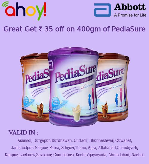If you are worried about Your Child's diet. Try #Pediasure one of the best children supplement ever. Aged up to 10 Years.   And now Uahoy offer 35Rs. /- Off on 400Gms. pack of Pediasure. To get details and coupon visit http://ads.uahoy.in/pediasure/400?src=socialmedia