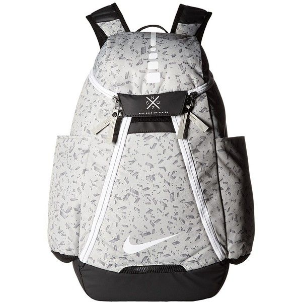 Nike Hoops Elite Max Air Backpack (Pale Grey/Black/White) Backpack... ($90) ❤ liked on Polyvore featuring bags, backpacks, backpack bags, mesh backpack, zipper bag, water resistant backpack and black and white backpack