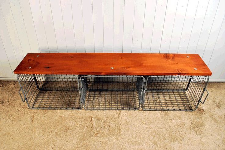 This Unusual Bench Has Been Made Out Of Wire Baskets And