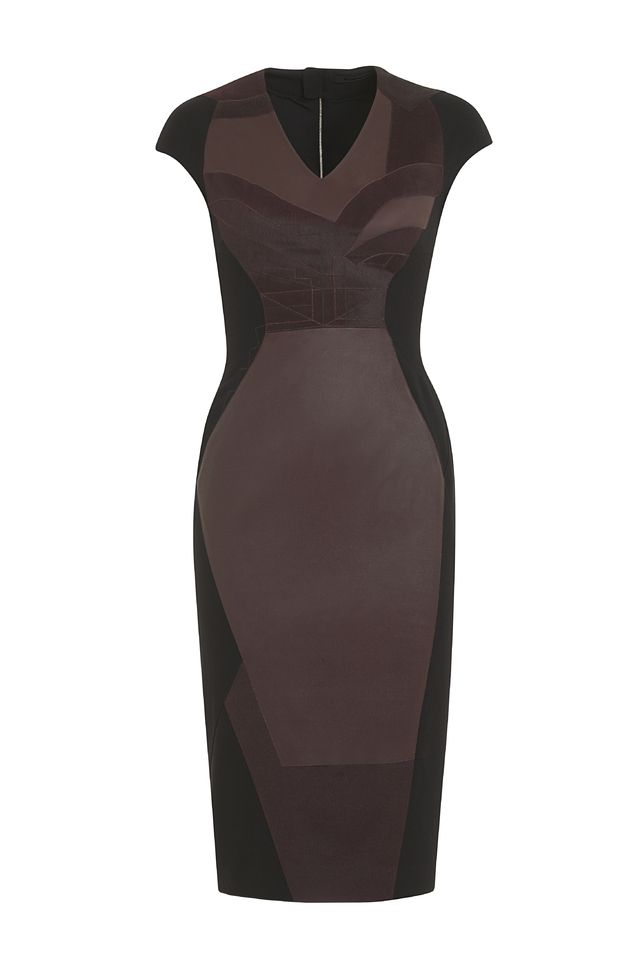 This gorgeous PINGHE figure-skimming midi dress features deep burgundy leather, wool and calf hair leather panels for textural contrast in a geometric pattern. The dress is made from a stretchy soft black crepe that moves and hugs the body. The front paneling creates the illusion of a svelte figure with a slimming effect. Midi length style hits below knee. V neckline with slightly capped sleeves. #fashion #style #dress #cocktail