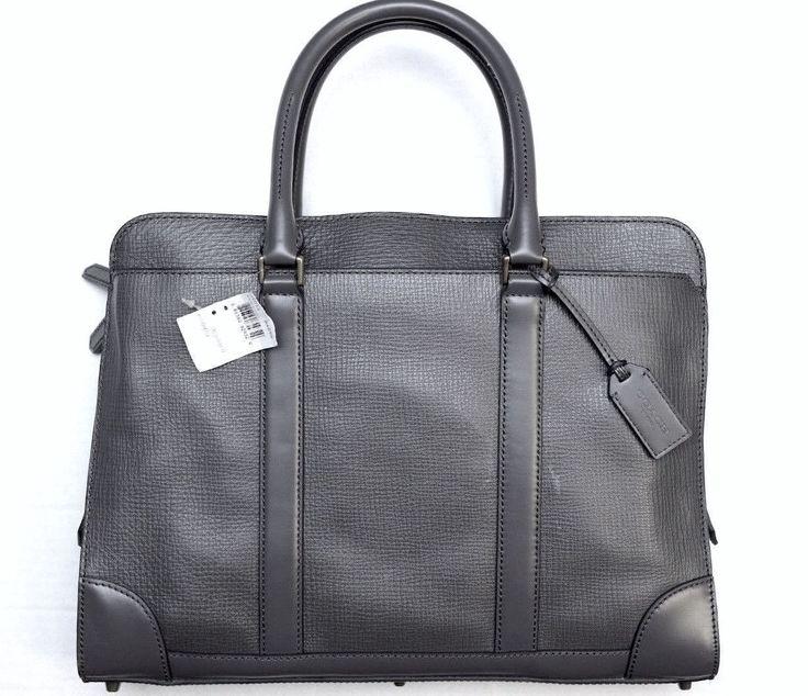 NWT Coach Men Crosby Slim Brief in Box Grain Leather Sharkskin briefcase F71013