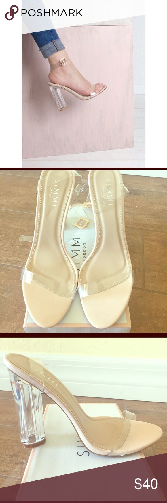 "Nude Perplex Barely There Heels Brand new, never been worn! Very in style nude, clear perplex heels. As seen on Chrissy Teigen, the Kardashian sisters, etc. Great for a night out or for a more ""casual"" look, it can be paired up with boyfriend jeans. Heel measures 4"". Simmi London Shoes Heels"