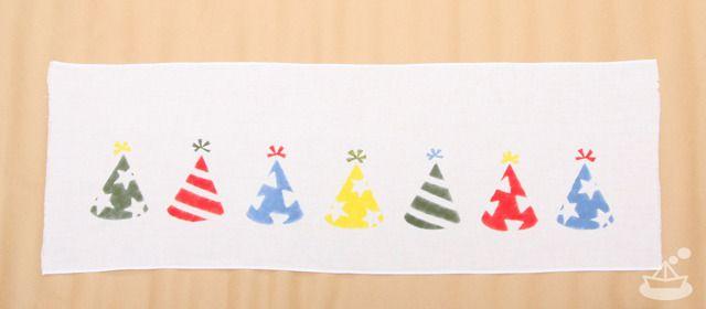 Japanese Tenugui 〈party hat〉x | 手染めてぬぐい〈パーティー帽〉よこならび