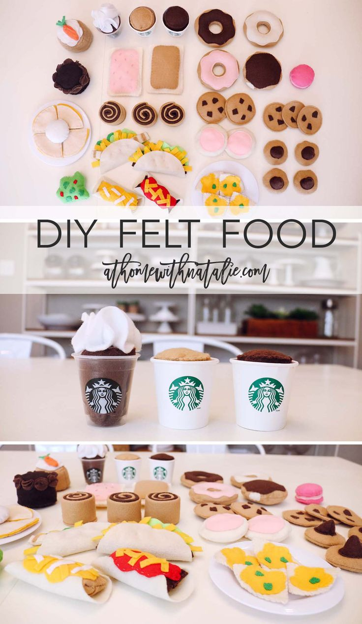 DIY Felt Food-Free Patterns: Mexican Food - Felt Food Inspiration: Donuts, Coffee, Cookies, Pop Tarts, Cinnamon rolls, Cake, Tacos, Quesadillas, Nachos, Burritos, Enchiladas and more! AtHomeWithNatalie.com