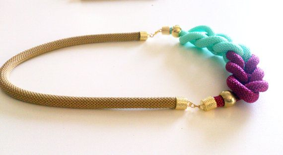 Triple colour necklace JOY  with knots  EGST Free by bizeli