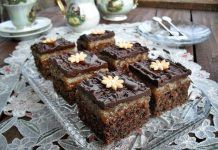Prăjitură cu nucă, rom , cremă de caramel si glazură de ciocolată. O prăjitură savuroasă cu multă personalitate