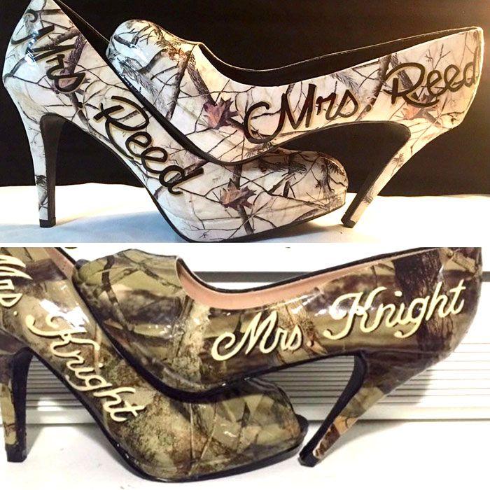 Personalized Camo Wedding Shoes Camo Heels Camouflage Wedding Backyard Wedding Dresses