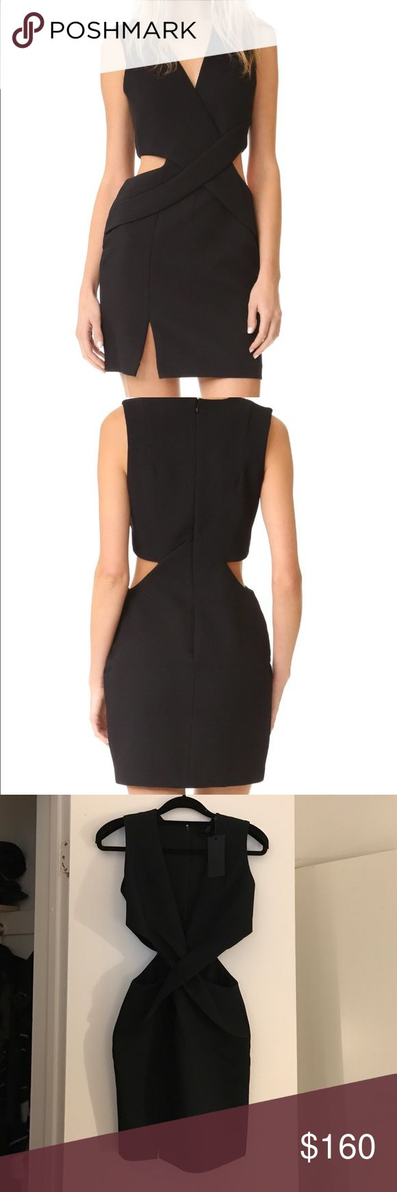 Kendal + Kylie Deep Plunge Cutout Dress in black BRAND NEW NEVER WORN. Black dress, new with tags XS. Crossover front panels and side cutouts lend a wrapped effect to this tailored KENDALL + KYLIE dress. Plunging V neckline. Sleeveless. Hidden back zip. Lined.  Fabric: Plain weave. Shell: 96% polyester/4% spandex. Trim: 92% polyester/8% spandex. Lining: 100% polyester. Wash cold or dry clean Kendall & Kylie Dresses