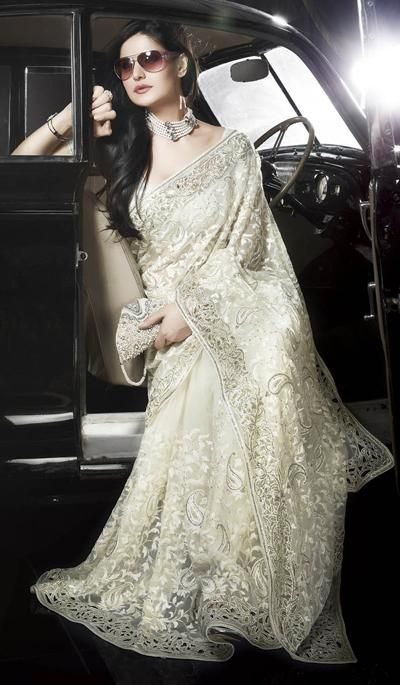 Cream Net Embroidered Party Wear Saree.  Product code: G3-LS8213  Price: INR RS 10768