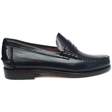 Zapato mocasín beefroll con antifaz en color azul marino de Tiamer vista lateral