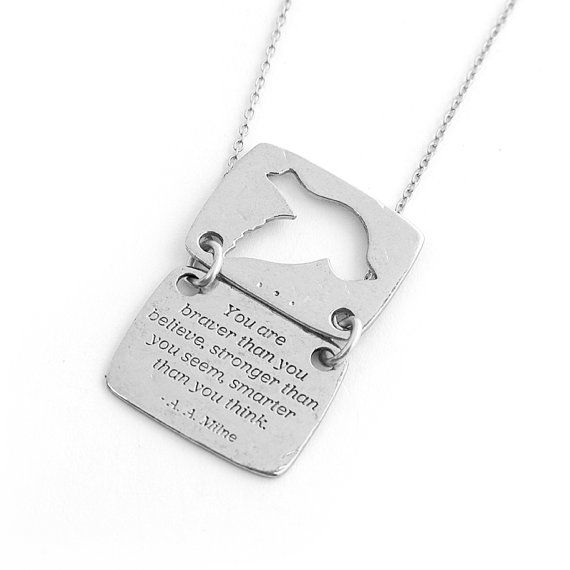 "Bird Necklace in Silver - Winnie the Pooh ""You Are Braver Than You Believe"" Inspirational Quote / Love Notes Collection"
